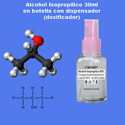 Alcohol isopropilico, IPA Isopropyl Alcohol 30ml en botella con dispensador
