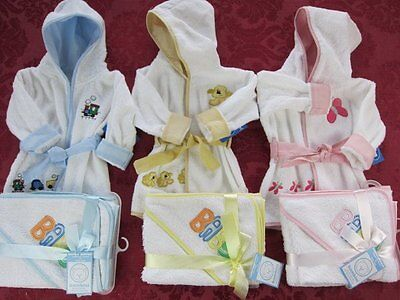 Bambini Terry hooded infant baby Bath Robes Hooded towel washcloth set 100% cott