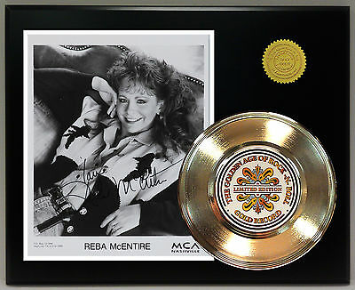 Reba McEntire - 24k Gold Record & Reprinted Autographed Photo - USA Ships Free