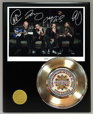 Cold Play - 24k Gold Record & Reprinted Autographed Photo - USA Ships Free