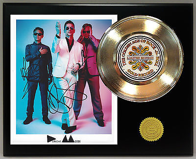 Depeche Mode - 24k Gold Record & Reprinted Autographed Photo - USA Ships Free