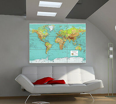 "World Map 1970 Huge Art Giant Poster Wall Print 39""x57"" px94"