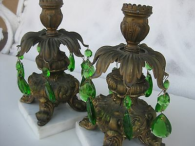 Candle Holders w/ Green Prisms, Vintage Ornate Metal Pair on Marble Bases