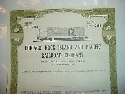 Chicago Rock Island & Pacific Railroad Bond Stock Certificate Due 1983