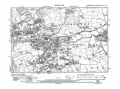 Old Map of  Hipswell, Catterick Camp,  Yorkshire -1930 - Repro 54 NW