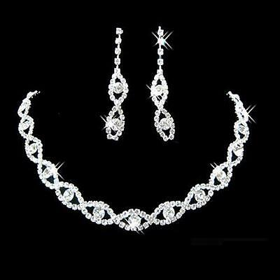 UK Bridal Wedding Party Jewelry Crystal Diamante Twisted Necklace Earrings Set