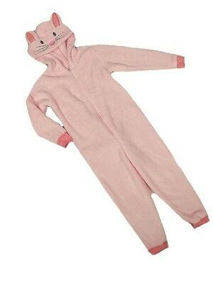 M&S soft Fleece Bunny Rabbit Pink All in one Sleep Suit pyjamas 3-4-5-6-7-8-9-10