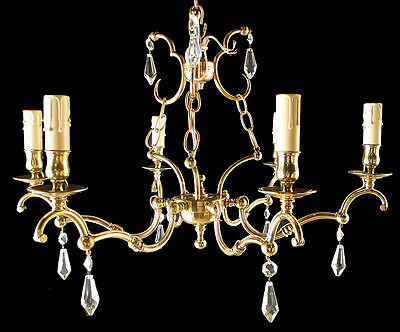 Antique French bronze & crystal chandelier Solid and polished bronzes