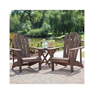 Adirondack Chairs Set w/ Side Table Outdoor Wood Deck Patio Porch Pool Furniture