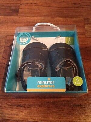 NEW Baby Ministar Explorers By Bobux Brown Leather Sandal Velcro 0-6 months