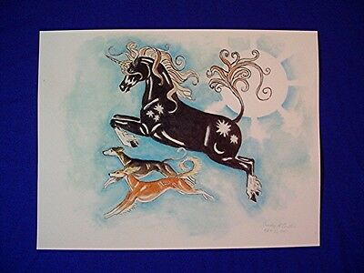 Print of a watercolor smooth and feathered saluki and unicorn Fantasy sighthound