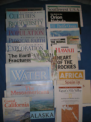 Vintage 1990's National Geographic Maps, Lot Of 22 - Us,africa, Millineum Sereis