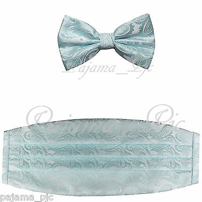 Brand New Paisley Light Blue Men's Cummerbund And Bow tie