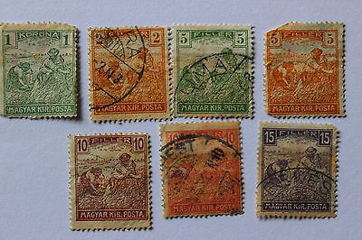Collection of antique used postal stamps, Reaper MAGYAR KIR POSTA Hungary, 1916