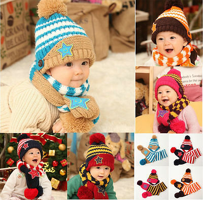 Fashion Winter For Girls Boys Baby Cap Kids Hats and Scarf Set Five-Pointed Star