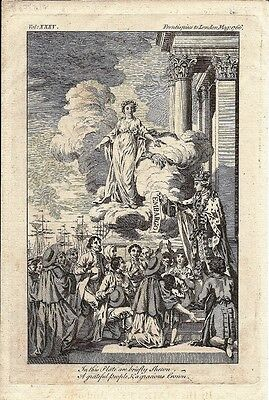 Antique engraving, London Magazine 1766 Frontispiece