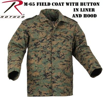 4d31be37deade Woodland Digital Camo Military Style M-65 Field Jacket Button Liner Rothco  8590