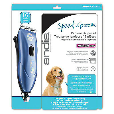 Andis Speed Groom Medium Duty 15 Piece Clipper Kit Pet Animal Dog Cat (23860)