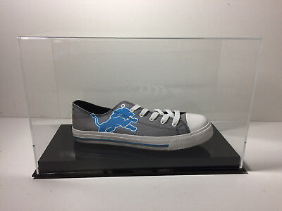 Shoe display case single up to size 17 black base 85% UV filtering acrylic
