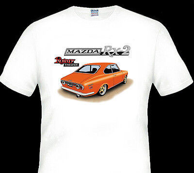Mazda  Rx2   Coupe Rotary 12A 13B   White T-Shirt  Men's Ladies Kid's Sizes