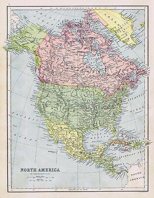 NORTH AMERICA Canada, United States, Mexico - Antique Map c1870 by Bartholomew