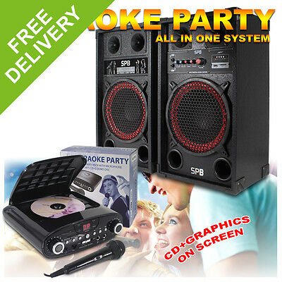 """Complete Karaoke Machine System - 10"""" Active Party Speakers + Machine 600W"""