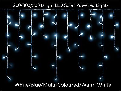200/300 Bright LED Solar Powered ICICLE String Lights  White/Multi-Colour/Blue