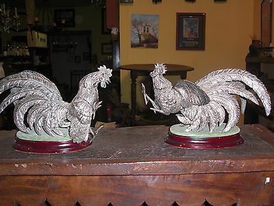 Pareja De Gallos Antiguos Siglo Xx - Pair Of Twentieth Century Old Cocks