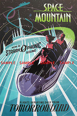 Vintage Disney ( Tomorrowland Space Mountain ) Collector's Poster Print - B2G1F