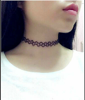 New Tattoo Choker Vintage Stretch Soft Elastic Hippy Boho Henna Retro 80S 90S