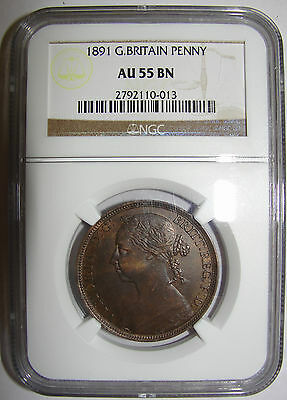 NGC 1891 VICTORIA ONE PENNY COIN SLABBED/GRADED AU55BN 1d GREAT BRITAIN