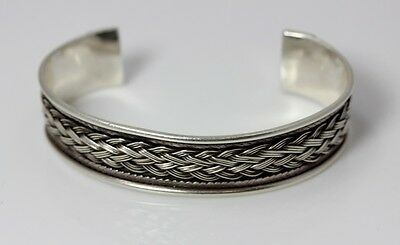 Large Sterling Silver Cuff Bracelet w/Braided Finish 7.75""