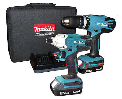 Makita 18V Li-ion Combi Drill & Impact Driver Twin Pack incl 2 Batteries! *NEW*