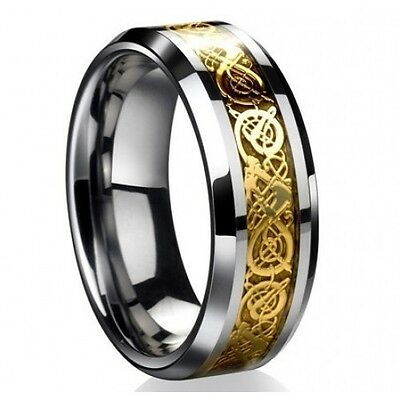 8MM Gold Celtic Dragon Tungsten Carbide Men's Ring Wedding Band All Size M41