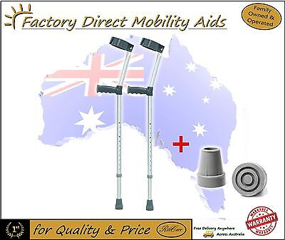 forearm / elbow Crutches Small Medium Large + Extra Pair of Crutch Tips RRP $69