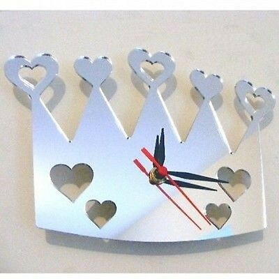 Hearts out of Crown Mirrored Clock