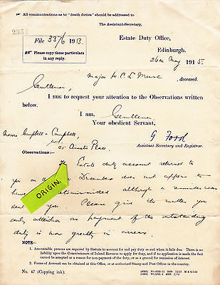 Raj Estate Letter Of Major Wcl Mure 1915 Bombay Cavalry Poona Horse India Indian
