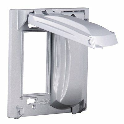 Bell MX2050S Two Gang Two Device Flat Metal Weatherproof Receptacle Cover Grey