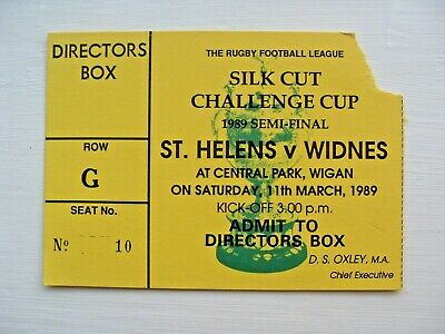 St Helens v Widnes 1989 Challenge Cup Semi-Final Used Rugby League Ticket