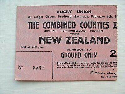 North East Counties v New Zealand 1954 Used Rugby Ticket