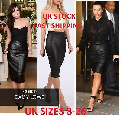 b6978080aaa90 Wet Look Faux Leather Pencil Wiggle Bodycon High Waisted Midi Skirt Uk Size  8-26