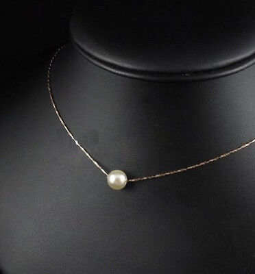 18K GP White & Gold Plated Simple Unique 8mm Shell Pearl Pendants Necklaces HOT