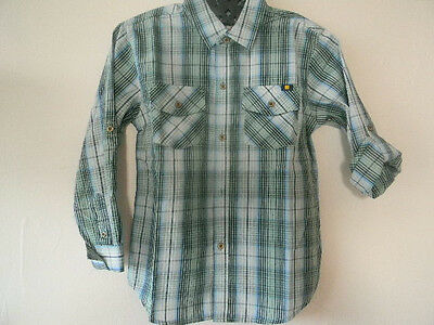 Nwt Lucky Brand Boy's Button Down Plaid Shirt Blue Tones Size 2T, 3T
