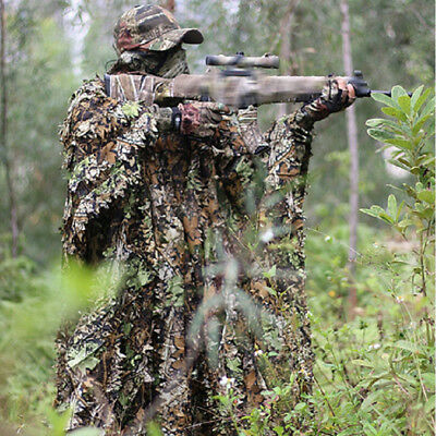 3D Leaves Camouflage Clothes Hunting Equipment Breathable Birdwatching Poncho