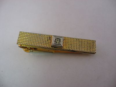 Vintage Tie Clip Mens Jewelry: Waffle Texture Gold Tone Clear Jewel