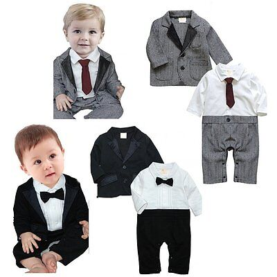 047f7476a BABY BOY WEDDING Christening Dressy Party Tuxedo Suit Clothes Outfit ...