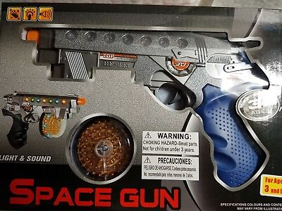 """Space Gun Light & Sound Superior Light Up 3+ Ages Use 3 """"aa"""" Size Batteries Boys"""