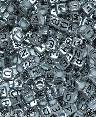 50pcs cube silver 6mm alphabet/letter acrylic beads combine letters yourself