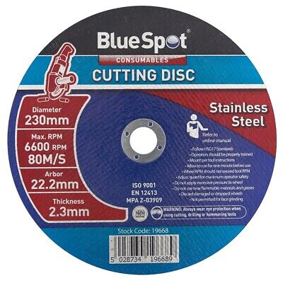Blue Spot Stainless Steel Metal Cutting Angle Grinder Disc 230mm 9 Inch Blades