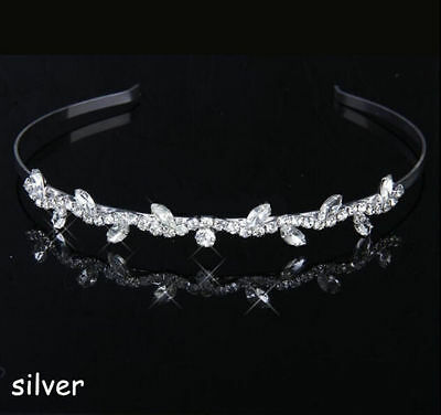 Bridal Tiara Bridesmaid Crystal Diamante Leaf Headband Wedding Banquet handpiece
